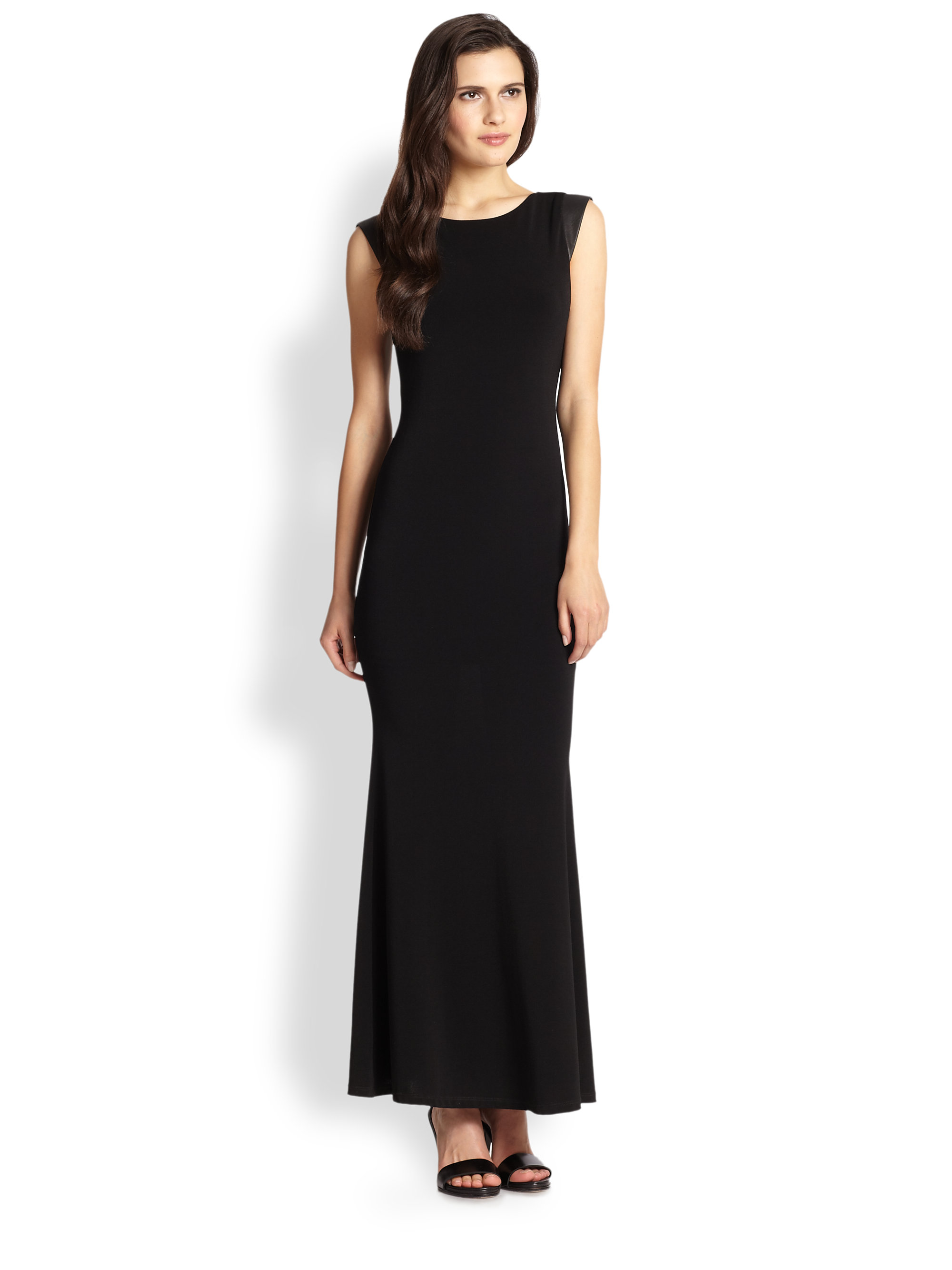 Alice + olivia Leather Open Back Maxi Dress in Black   Lyst