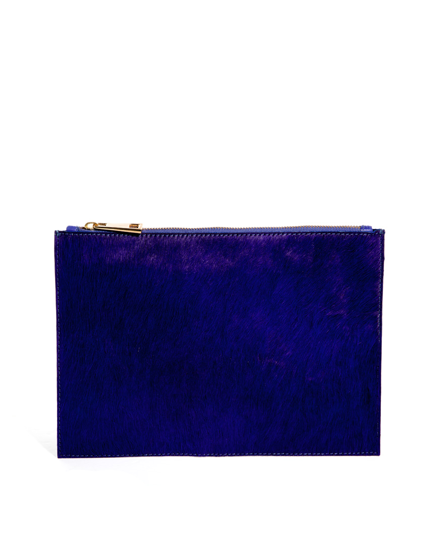 Asos Leather Clutch Bag in Faux Pony in Blue (Cobalt)