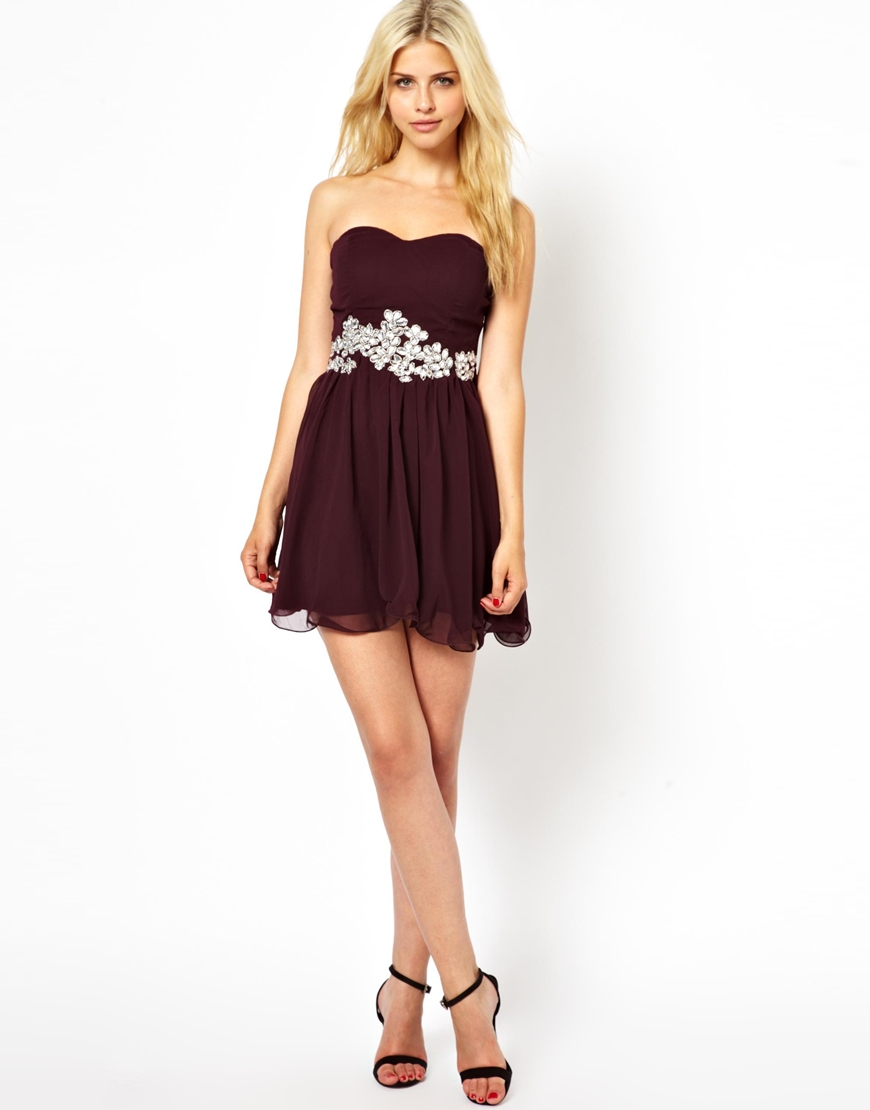 Lyst - AX Paris Bandeau Prom Dress with Embellishment in Purple 41620c9ce
