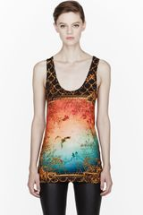 Balmain Gold Framed Print Tank Top - Lyst