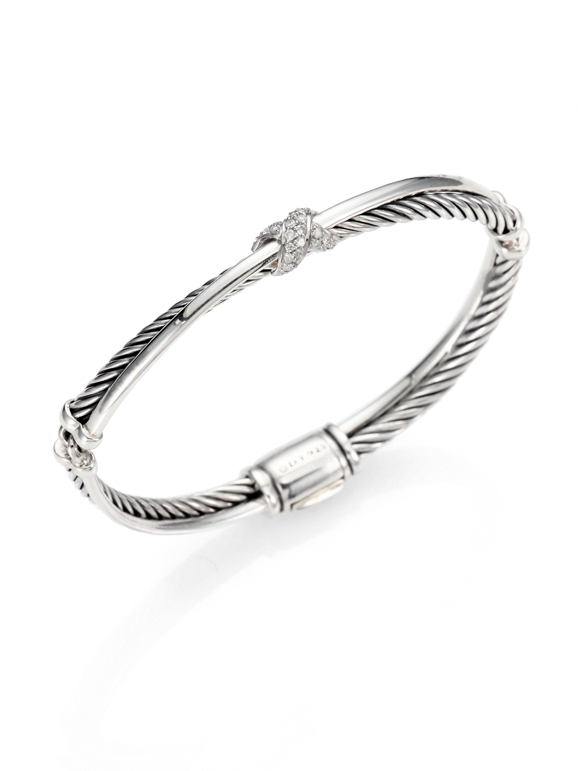 David yurman diamond sterling silver bangle bracelet in for David yurman like bracelets