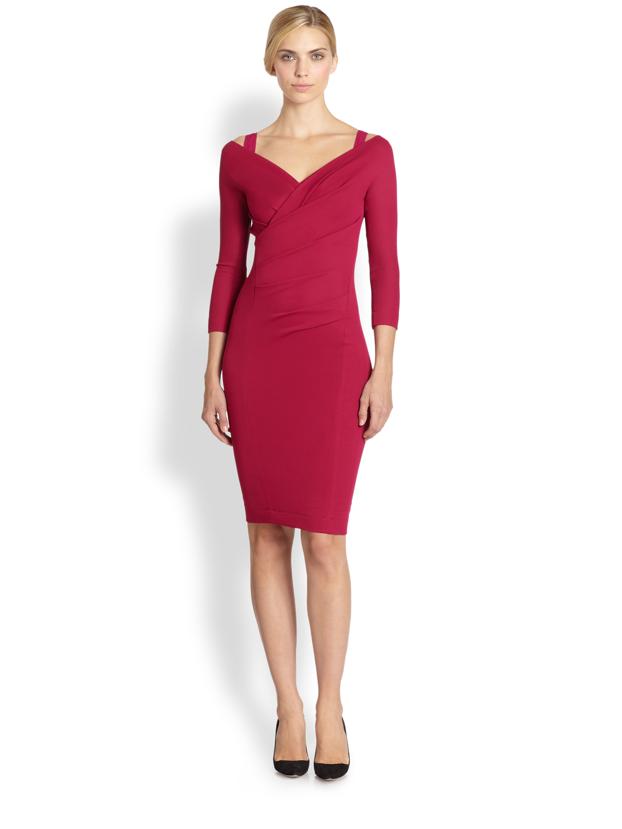 Donna karan new york vneck drape dress in red cyclamen for Donna karen new york