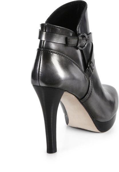 elie tahari brendon metallic leather ankle boots in black