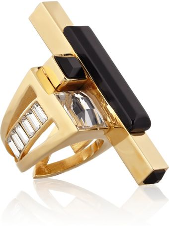 Emilio Pucci Goldtone Crystal and Resin Ring - Lyst