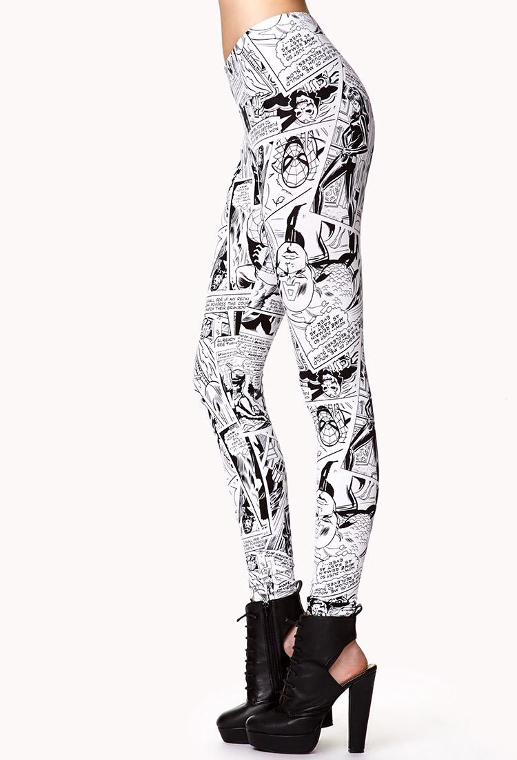 lyst forever 21 marvel comic leggings in white