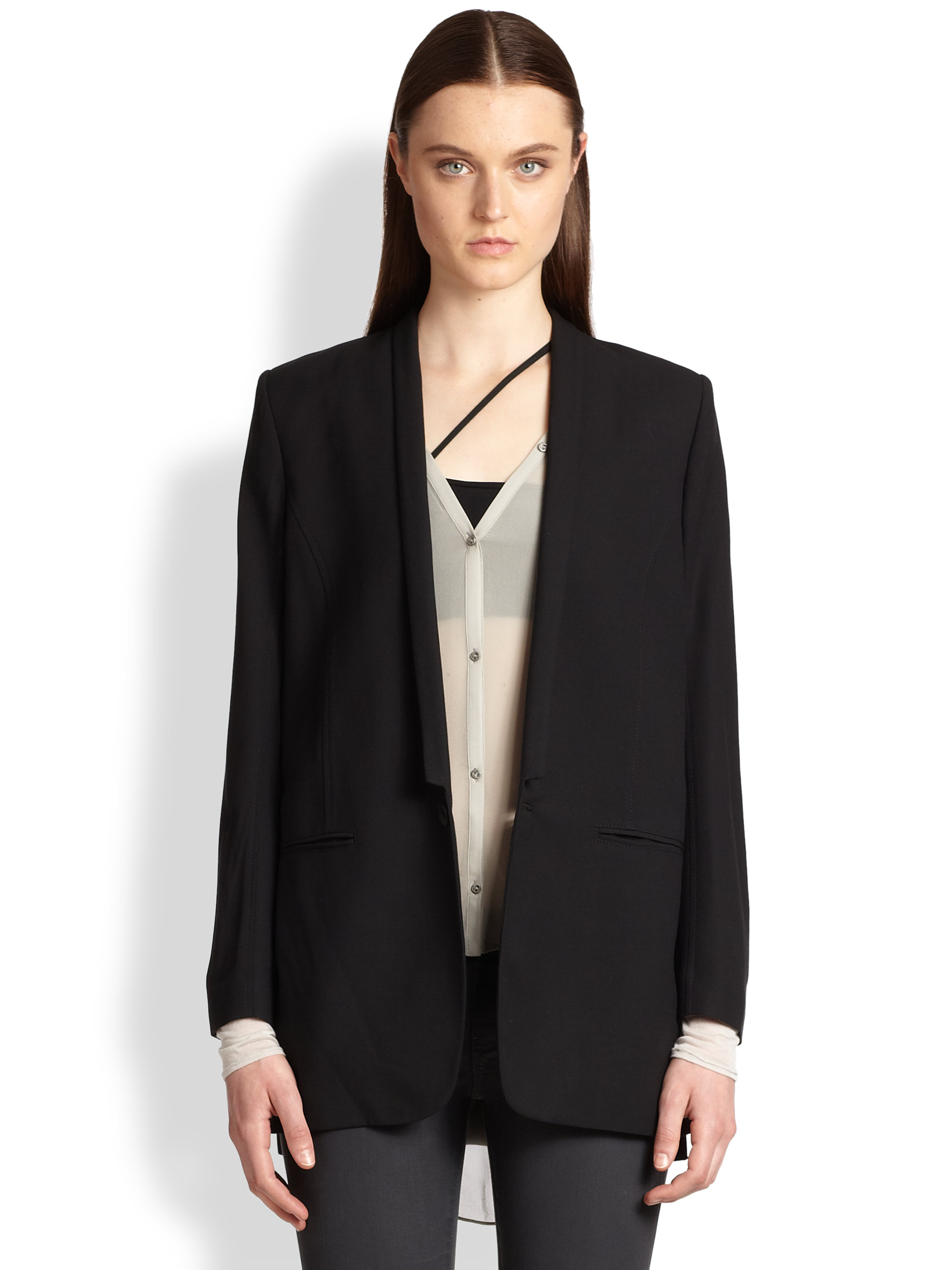 Helmut lang Slouchy Suiting Boyfriend Jacket in Black | Lyst