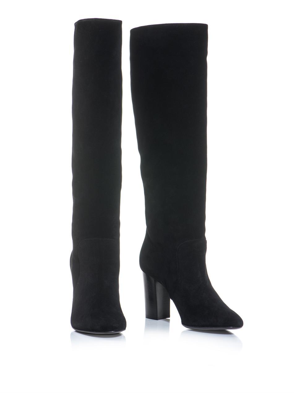 Lanvin Suede Midheel Kneehigh Boots in Black   Lyst