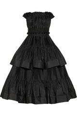 Lanvin Tiered Pleated Taffeta Dress - Lyst