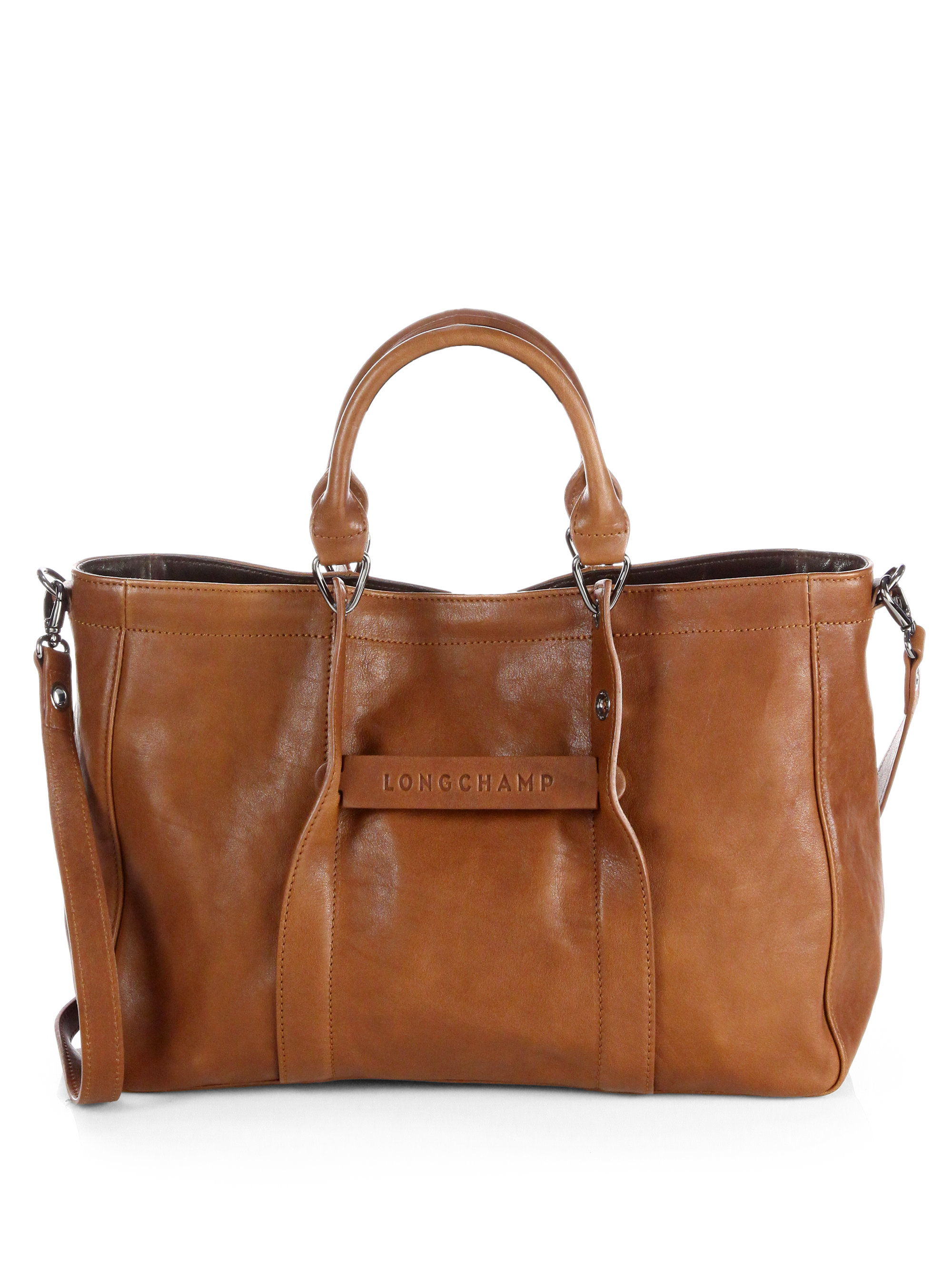 e19b65fa136c Lyst - Longchamp Small Leather Tote Bag in Brown
