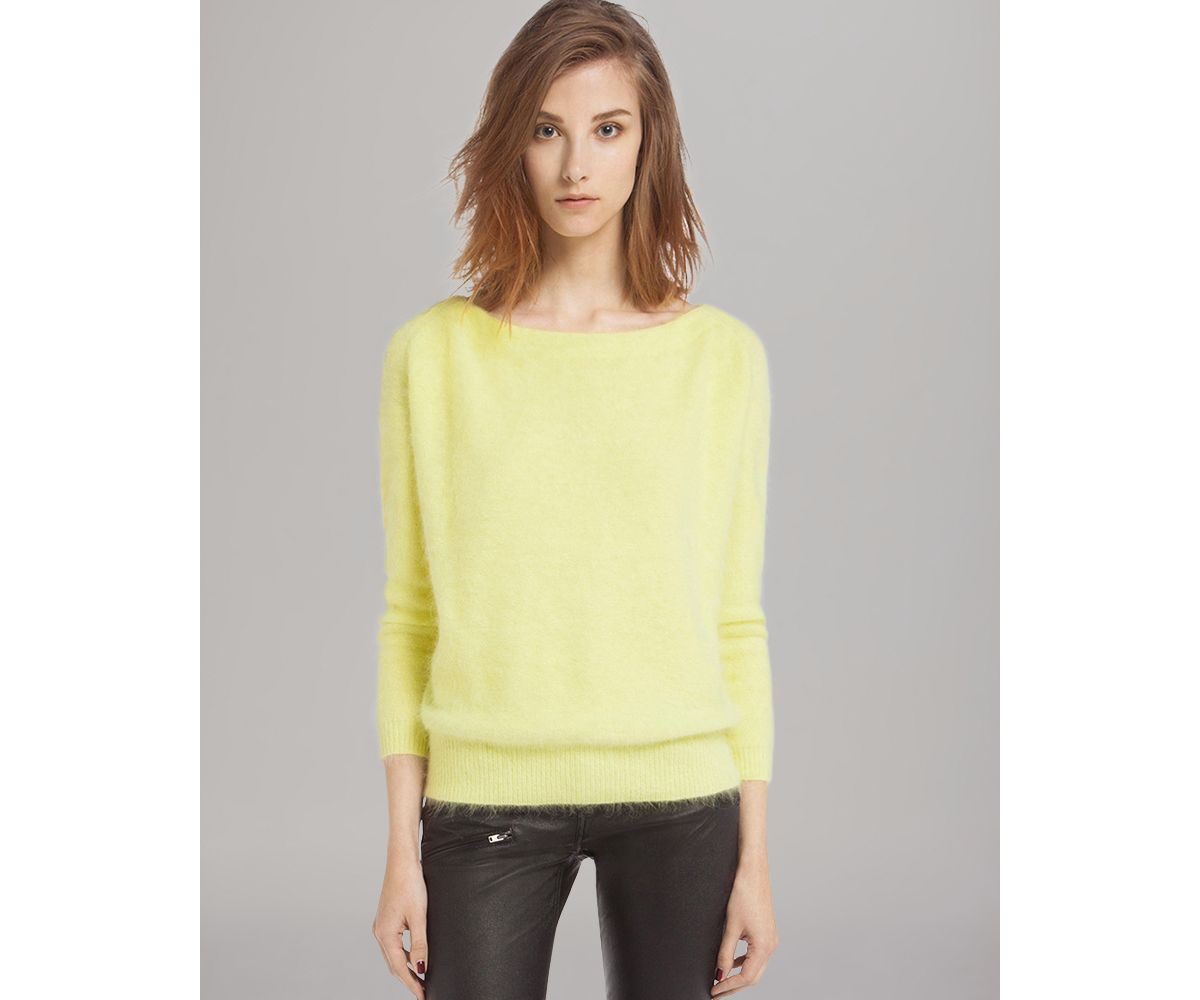 Maje Sweater Origan Angora in Yellow | Lyst