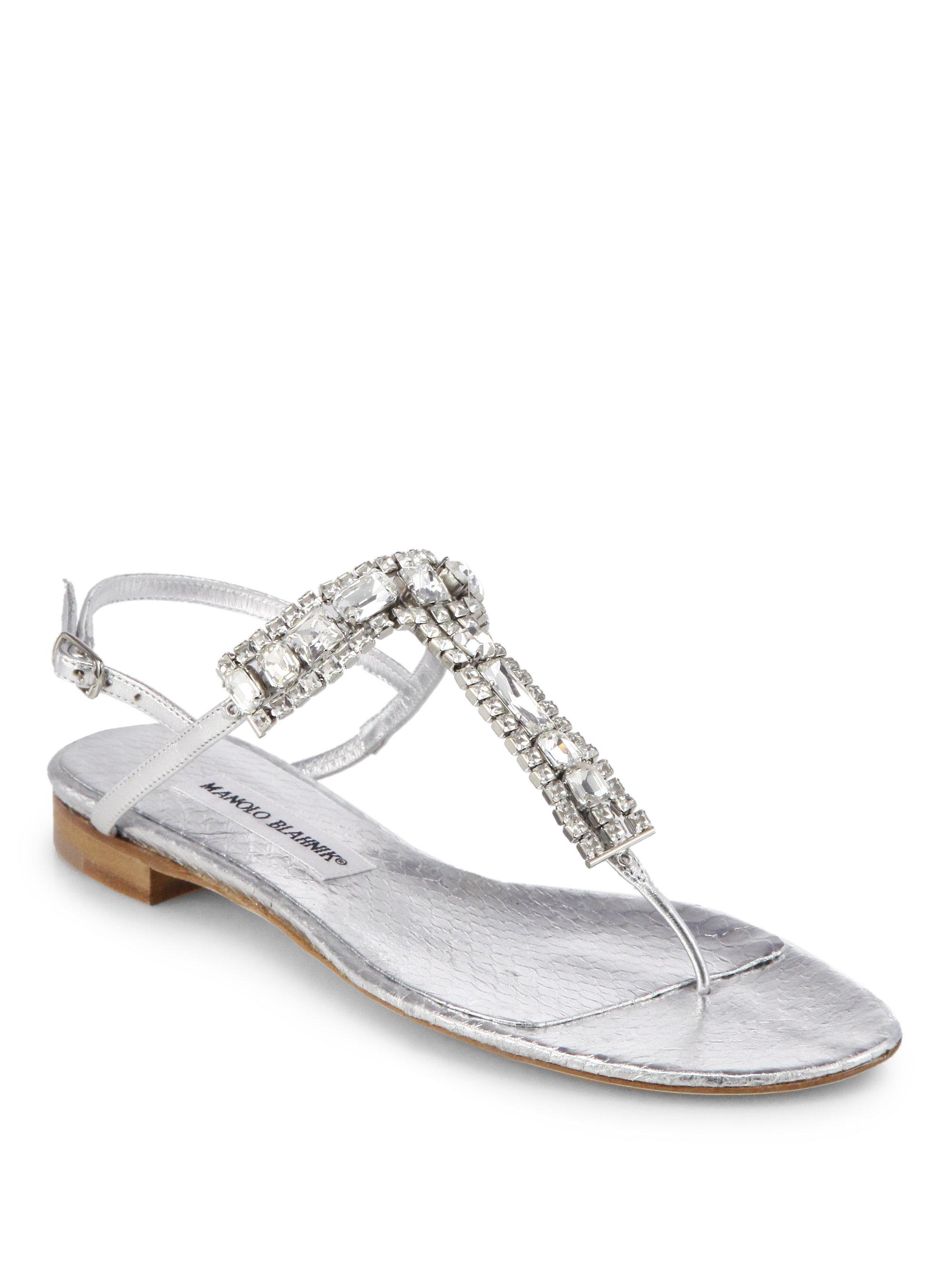 b2c48efc01c32 Lyst - Manolo Blahnik Zanfimod Jeweled Metallic Leather Thong ...
