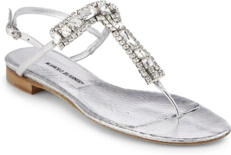 Manolo Blahnik Zanfimod Jeweled Metallic Leather Thong