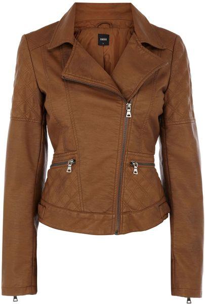 tan faux leather jacket ladies