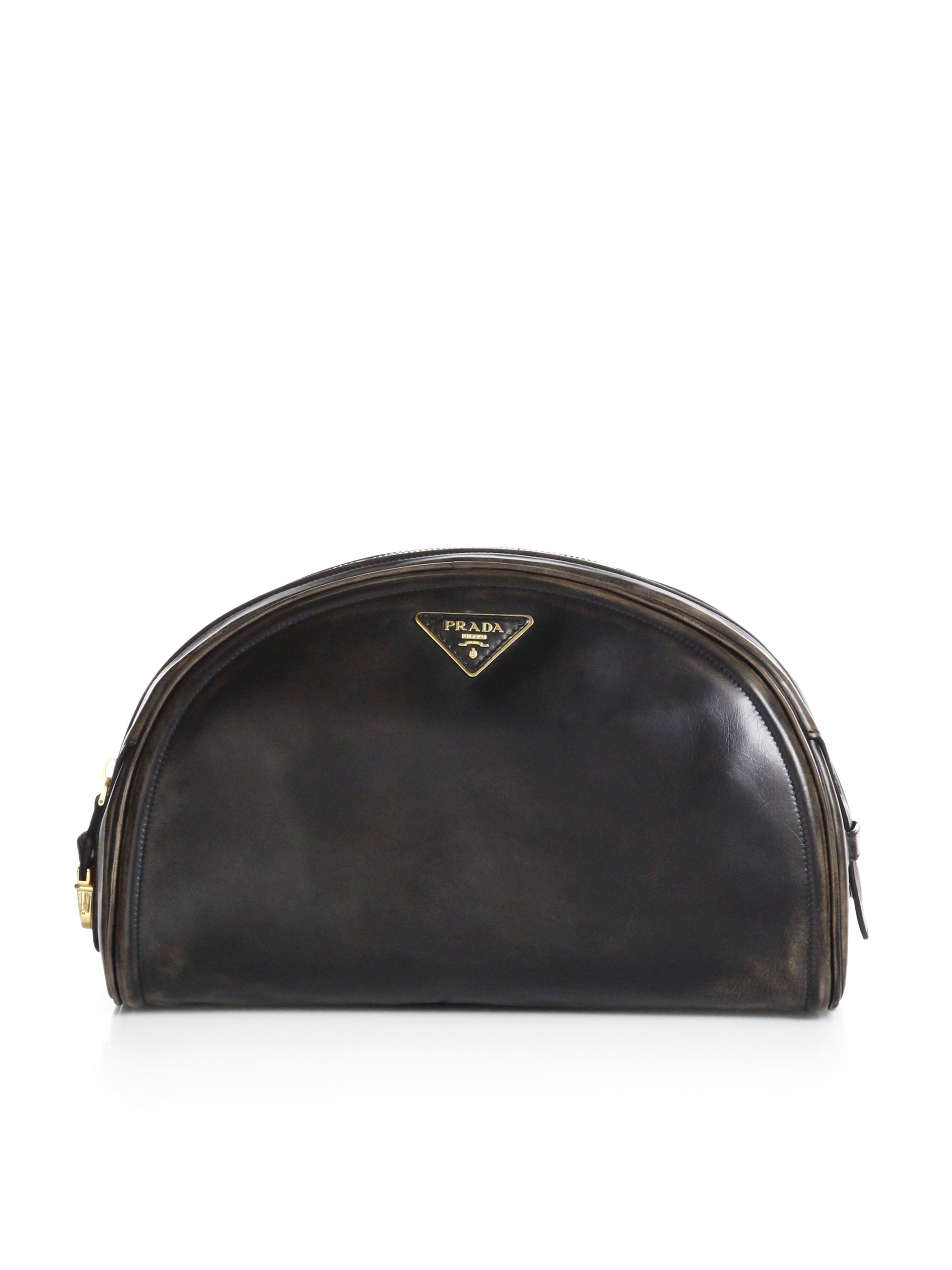 Prada Vitello Vintage Bowler Clutch in Black (NERO-BLACK) | Lyst