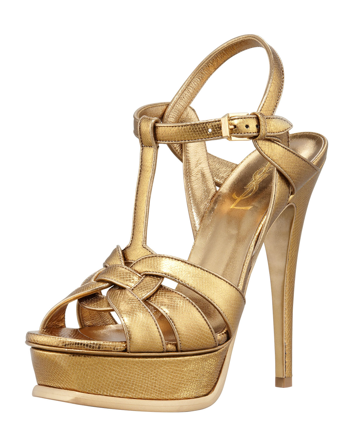 a002af04db1 Lyst - Saint Laurent Tribute Snakeembossed Platform Sandal in Metallic