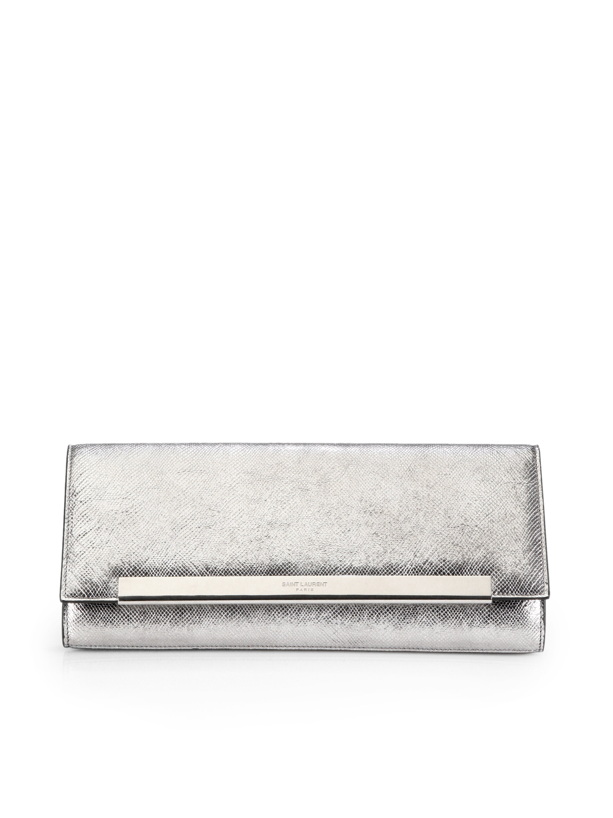 Yves Saint Laurent Metal Flap Suede Clutch Royal Blue