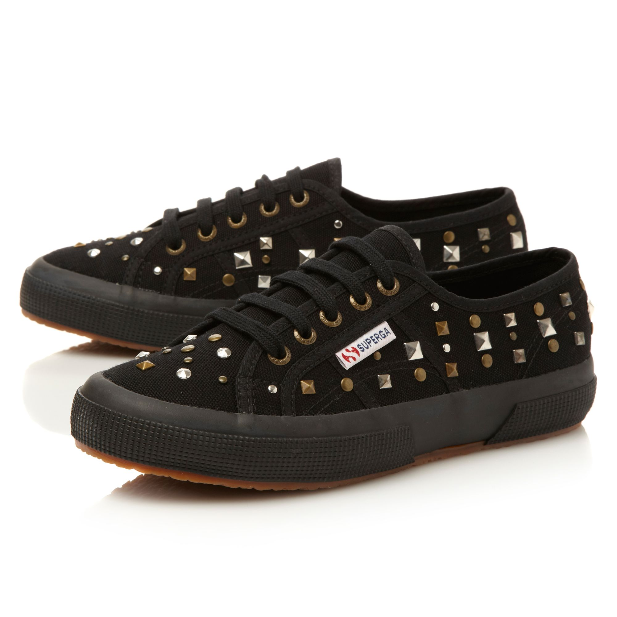 superga studded lace up shoes in black lyst