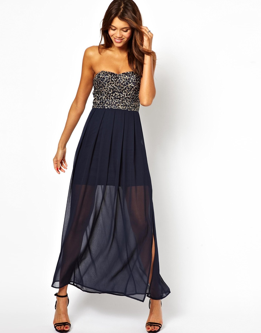 Tfnc maxi dress with sequin bandeau tops