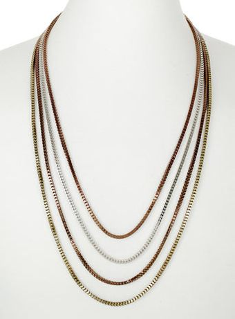 Topman Mixed Metal Multi Box Chain Necklace - Lyst