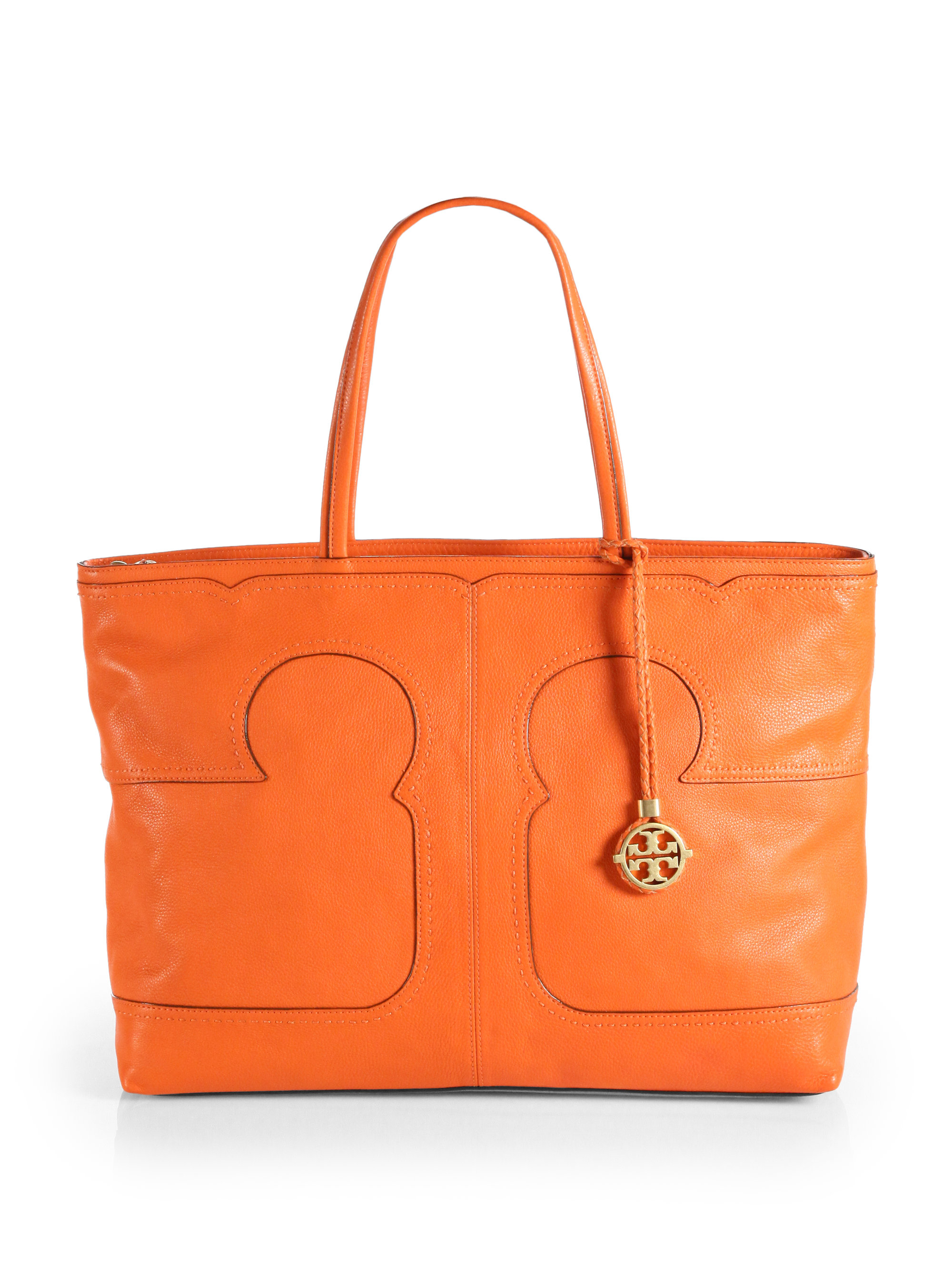 Tory burch Amalie Logo Tote in Orange | Lyst