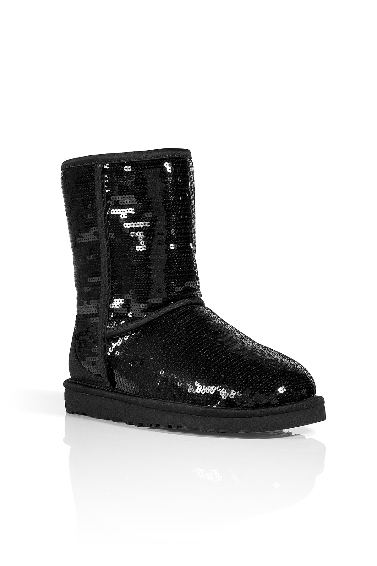 lyst ugg black sequin classic short sparkles boots in black. Black Bedroom Furniture Sets. Home Design Ideas