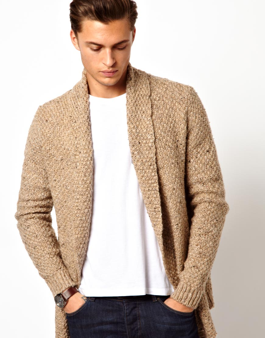 Asos Cardigan In Textured Yarn in Natural for Men | Lyst