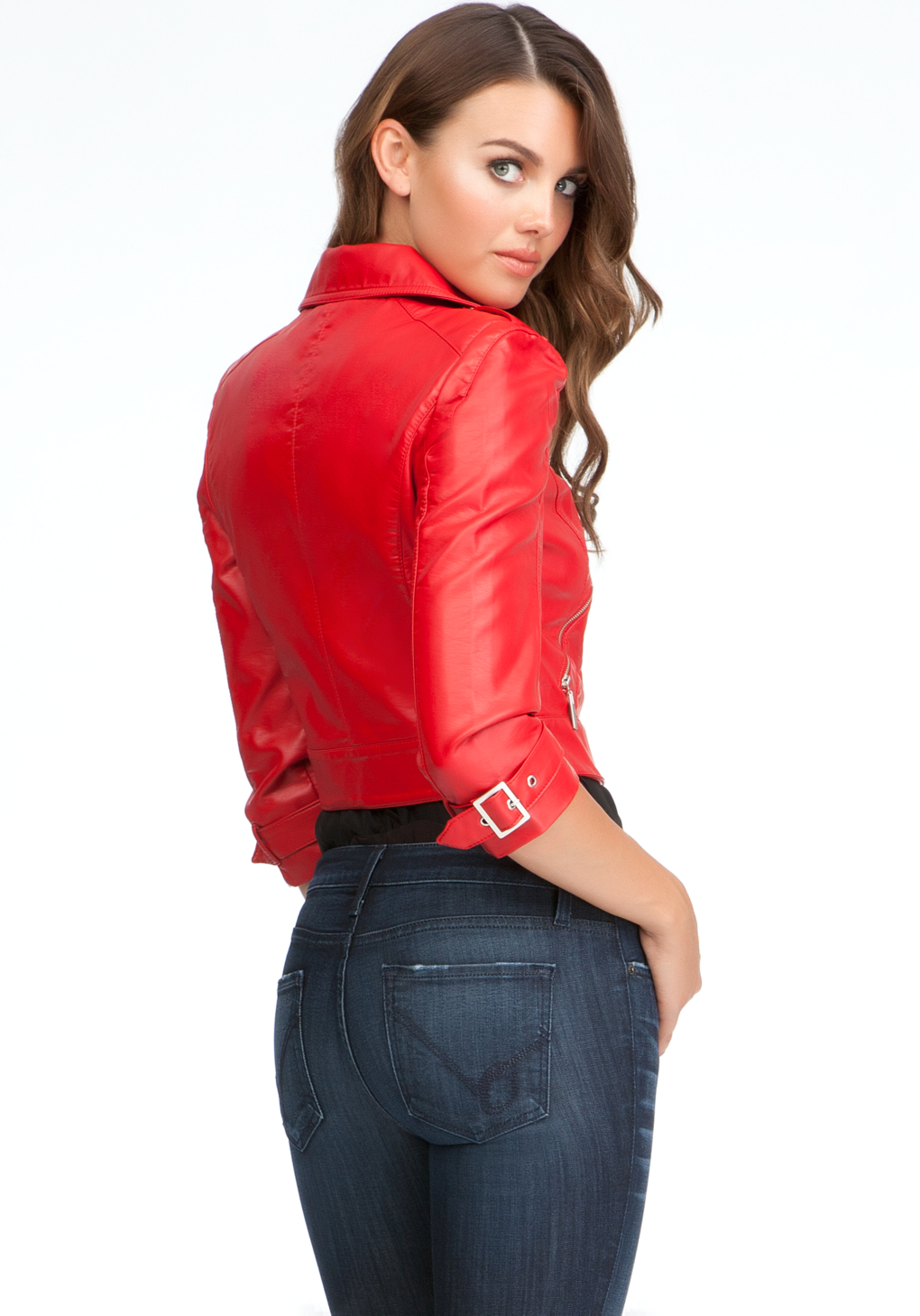 Bebe faux leather moto jacket in red lyst for Red leather shirt for womens