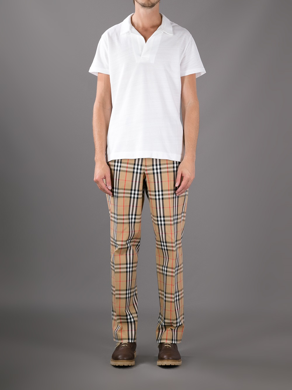 Burberry Haymarket Check Trouser In Natural For Men Lyst