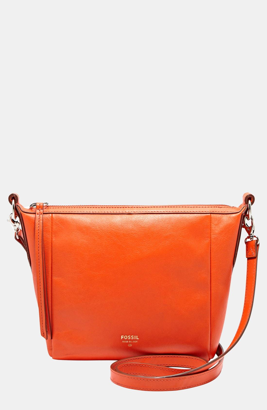 fossil sydney crossbody bag in orange bright orange lyst