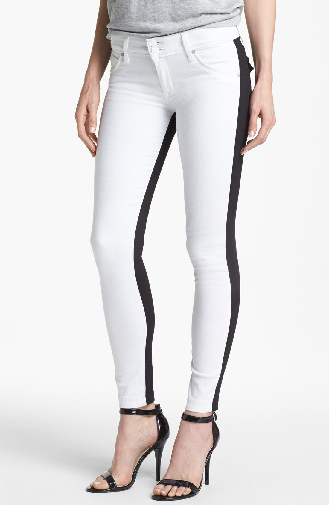 Hudson jeans Collin Two Tone Skinny Jeans in White | Lyst