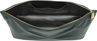 Jil Sander Peleo Oversized Dark Green Leather Clutch - Lyst