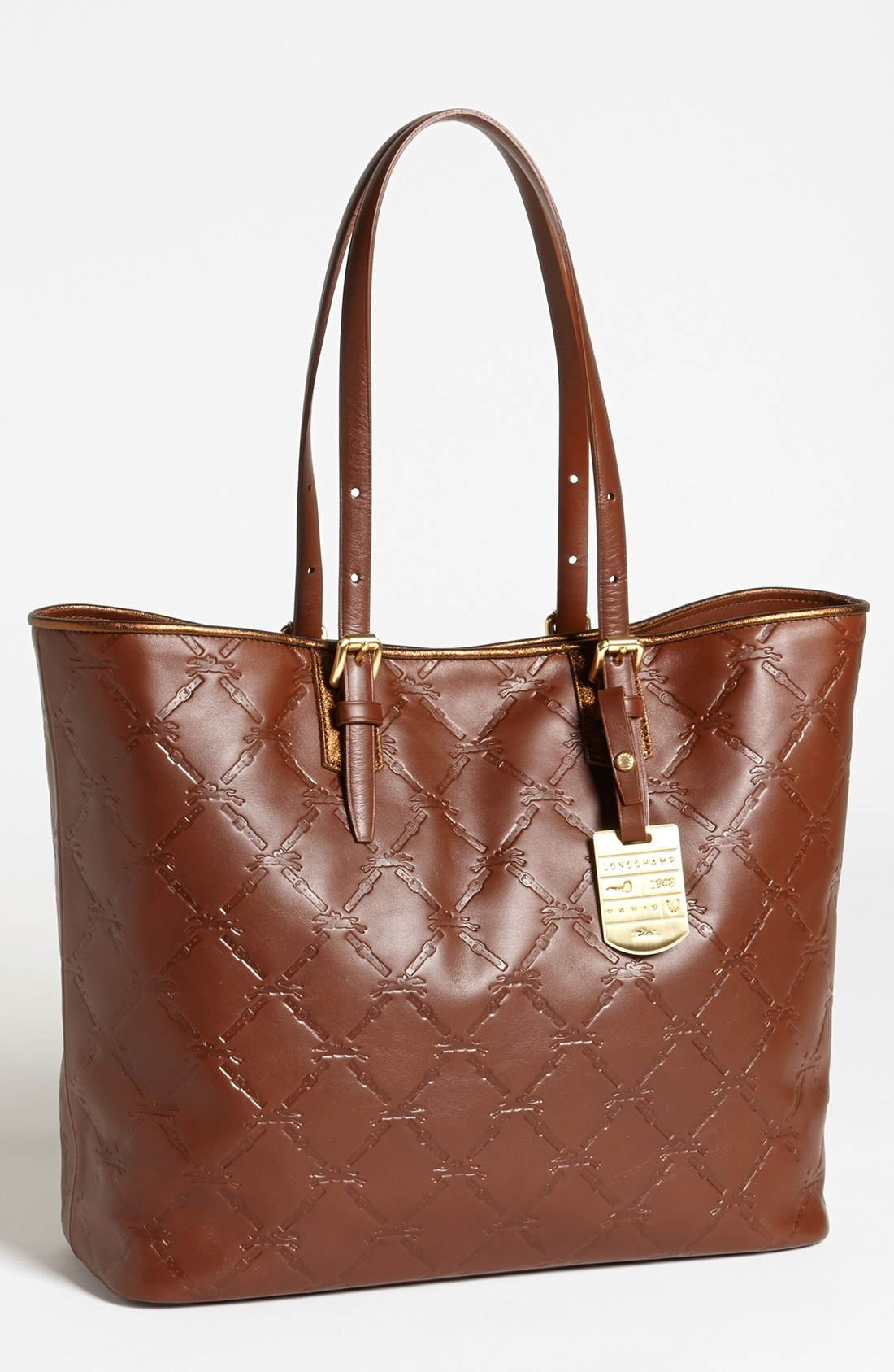 longchamp lm cuir medium leather tote in brown lyst. Black Bedroom Furniture Sets. Home Design Ideas
