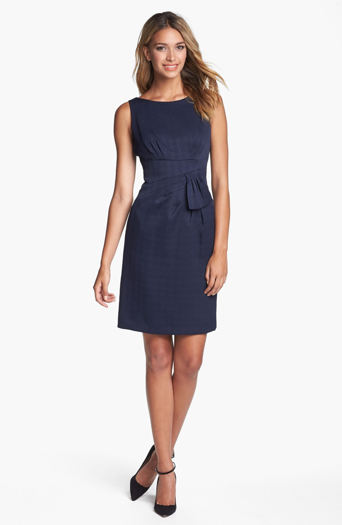 Tahari Sleeveless Side Bow Jacquard Sheath Dress in Blue ...