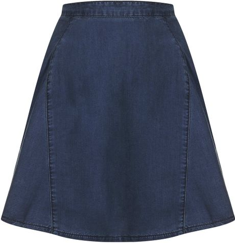 topshop moto denim tencel flippy skirt in blue indigo lyst
