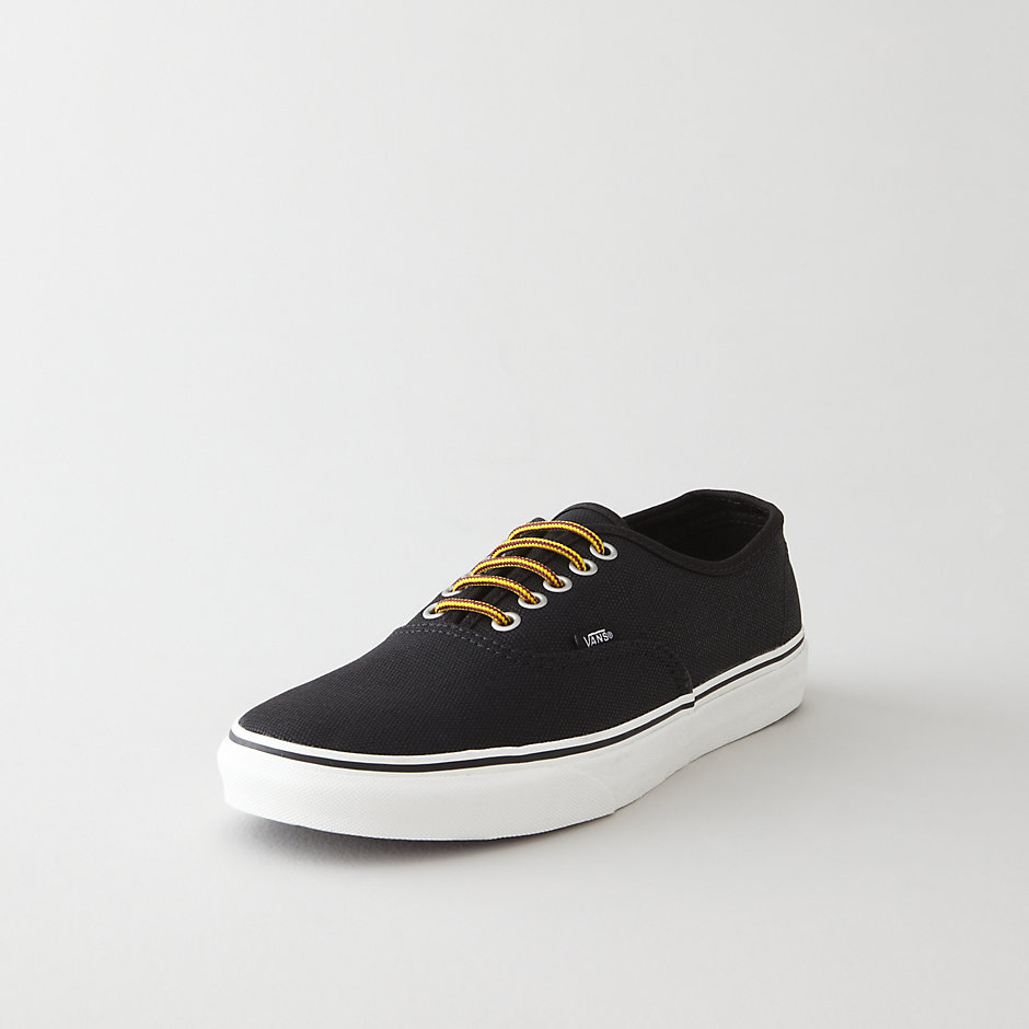 vans authentic waxed canvas sneaker in black for lyst