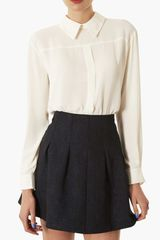 Topshop Button Back Blouse - Lyst