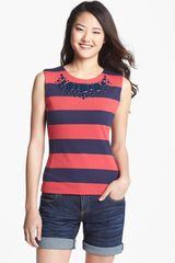 Halogen Embellished Stripe Shell Top - Lyst