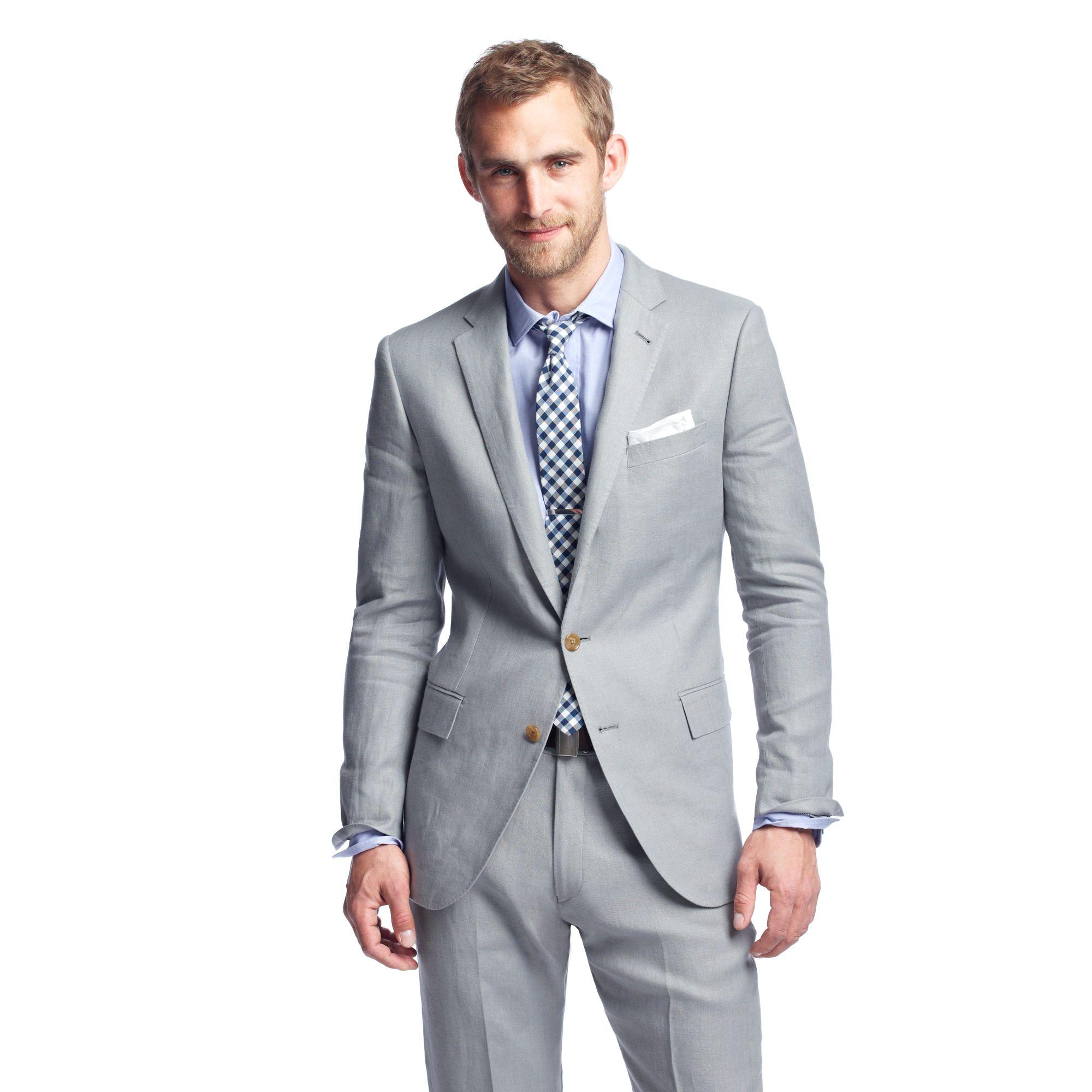J Crew Ludlow Classic Suit Pant In Irish Linen In Gray For