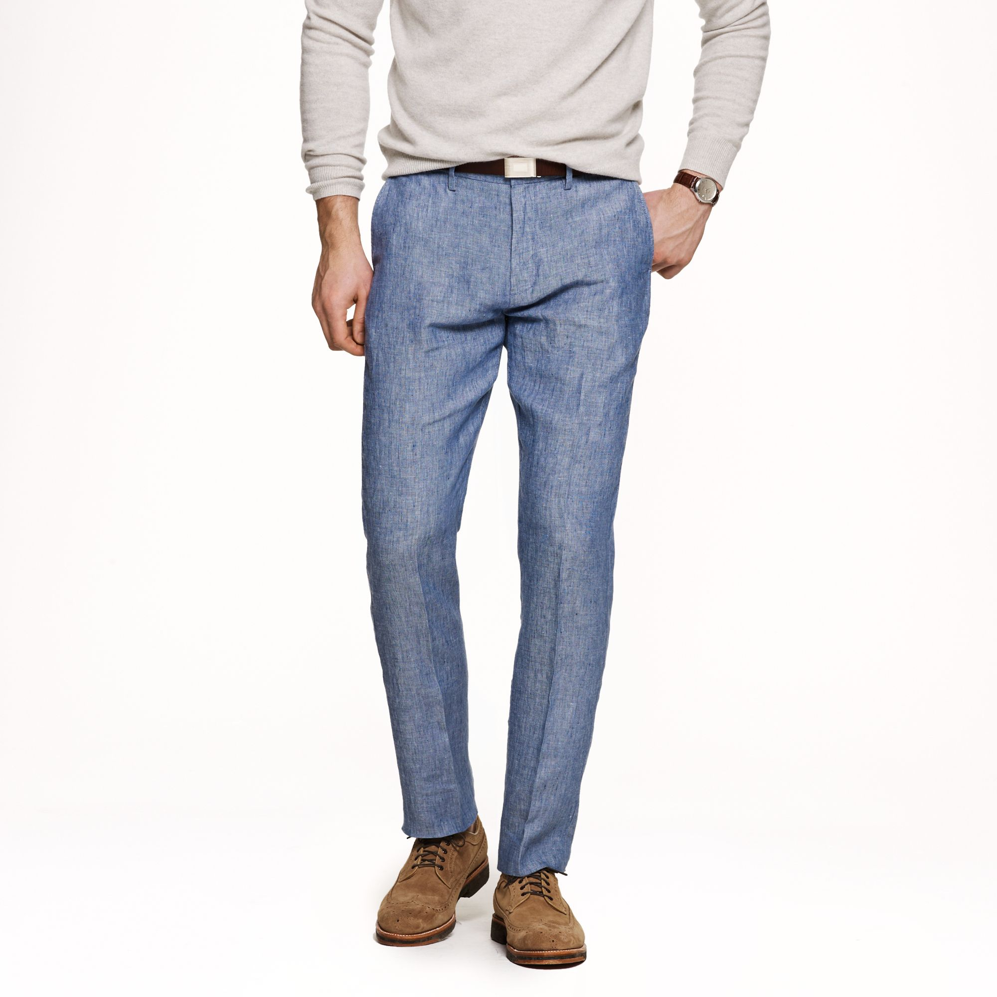 J.crew Bowery Slim Pant in Irish Linen in Blue for Men | Lyst