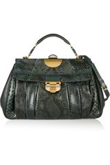 Nina Ricci Pleated Python and Leather Shoulder Bag - Lyst