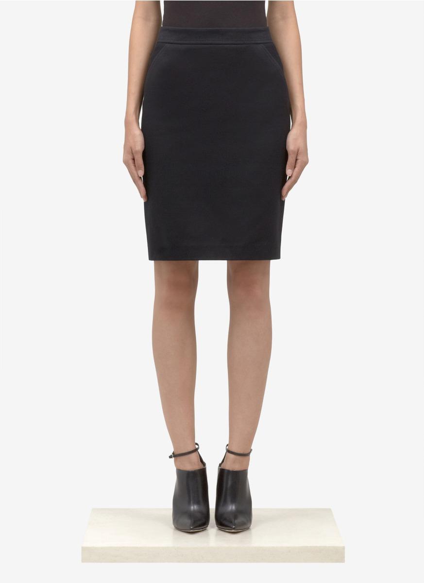 proenza schouler cotton twill seamed pencil skirt in black