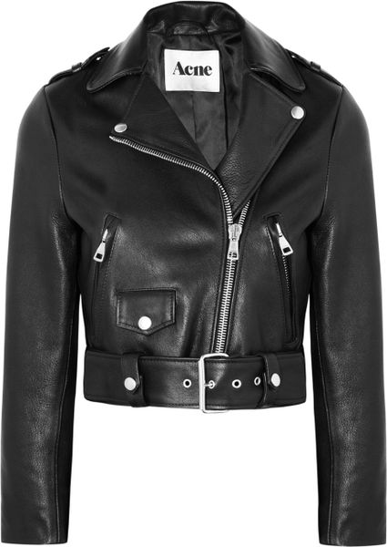 Acne Studios Mape Cropped Leather Biker Jacket in Black | Lyst