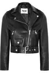 Acne Mape Cropped Leather Biker Jacket - Lyst