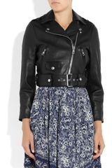 Acne Mape Cropped Leather Biker Jacket in Black - Lyst