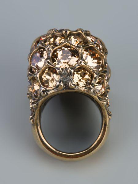 Alexander Mcqueen Crystal Skull Ring In Gold Lyst