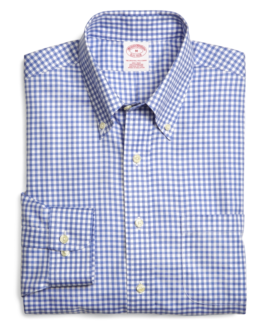 Brooks brothers non iron madison fit framed check dress for Supima cotton dress shirts