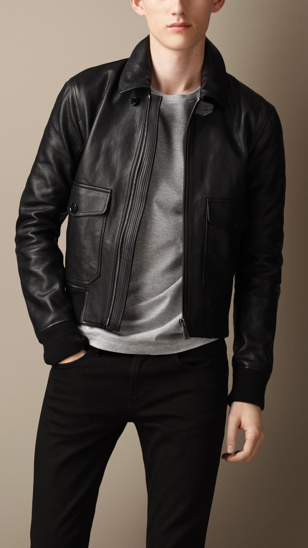 Lyst Burberry Grainy Leather Bomber Jacket In Black For Men