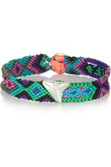 Dezso By Sara Beltran Blues Shark Tooth Woven Cotton and Silver Friendship Bracelet - Lyst