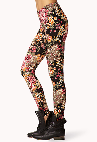 Forever 21 Baroque Floral Leggings In Pink Lyst