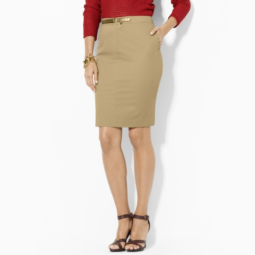 by ralph cotton pencil skirt in khaki lyst